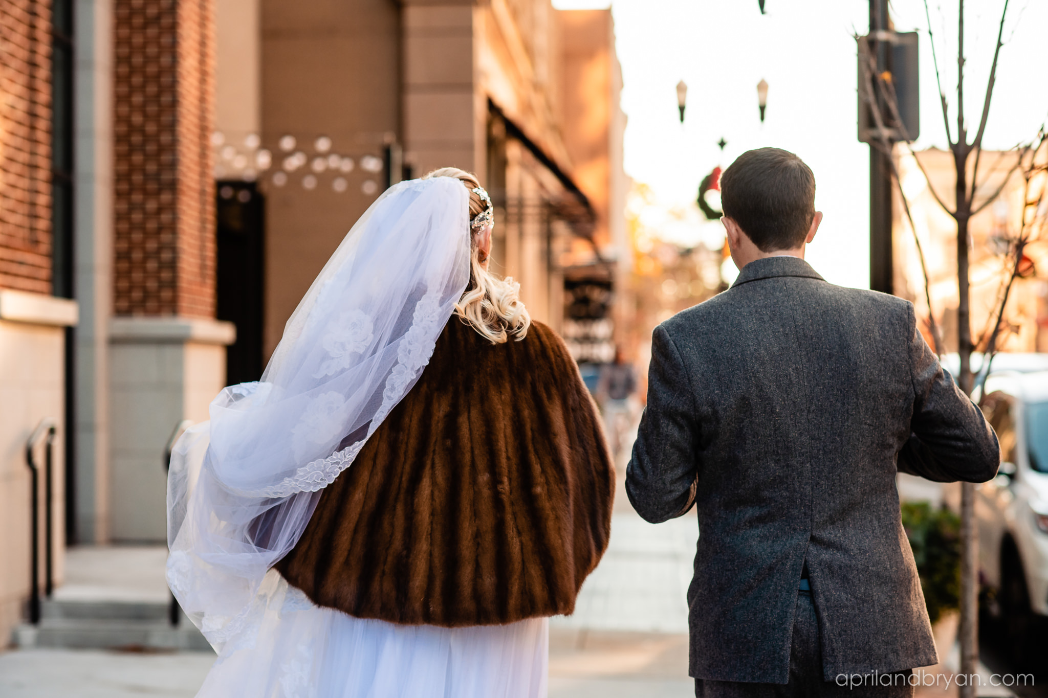 Their first walk together as husband and wife. Nicholas and Rebecca Fasnacht tie the not at Tellus360 on November 1, 2019. Captured by April & Bryan Photography and featured on Dream Weddings.
