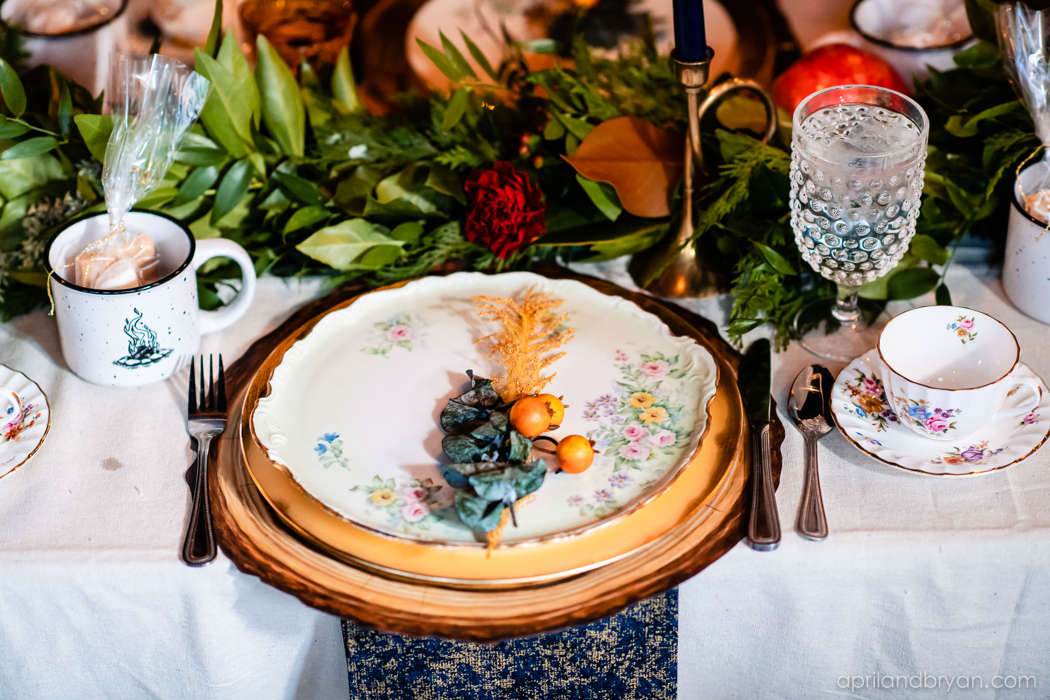 Gooseberries were accompanied by greens as a garnish for the plate at each guests's seat. Nicholas and Rebecca Fasnacht tie the not at Tellus360 on November 1, 2019. Captured by April & Bryan Photography and featured on Dream Weddings.