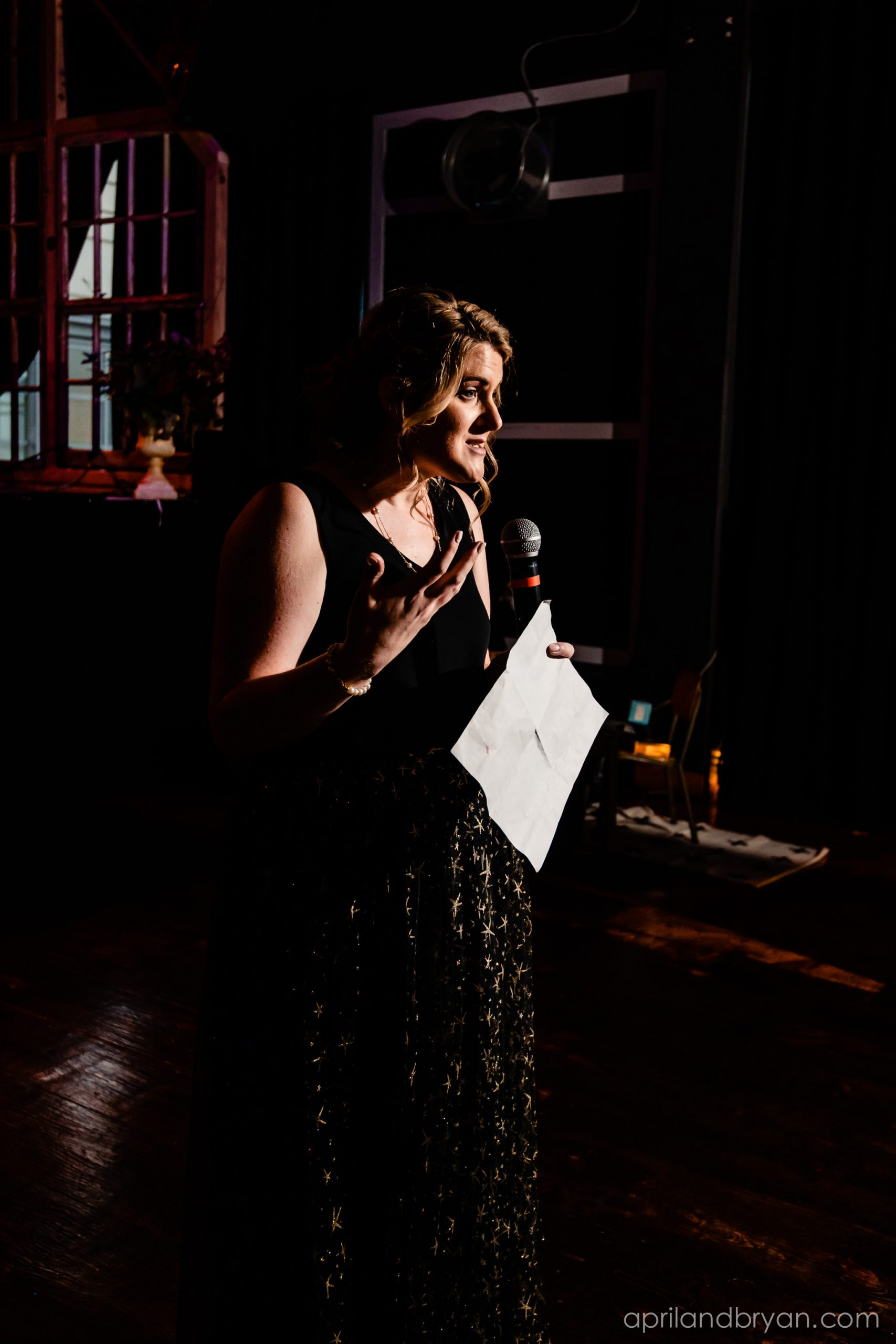 Sister of the bride gives a speech at the reception. Nicholas and Rebecca Fasnacht tie the not at Tellus360 on November 1, 2019. Captured by April & Bryan Photography and featured on Dream Weddings.