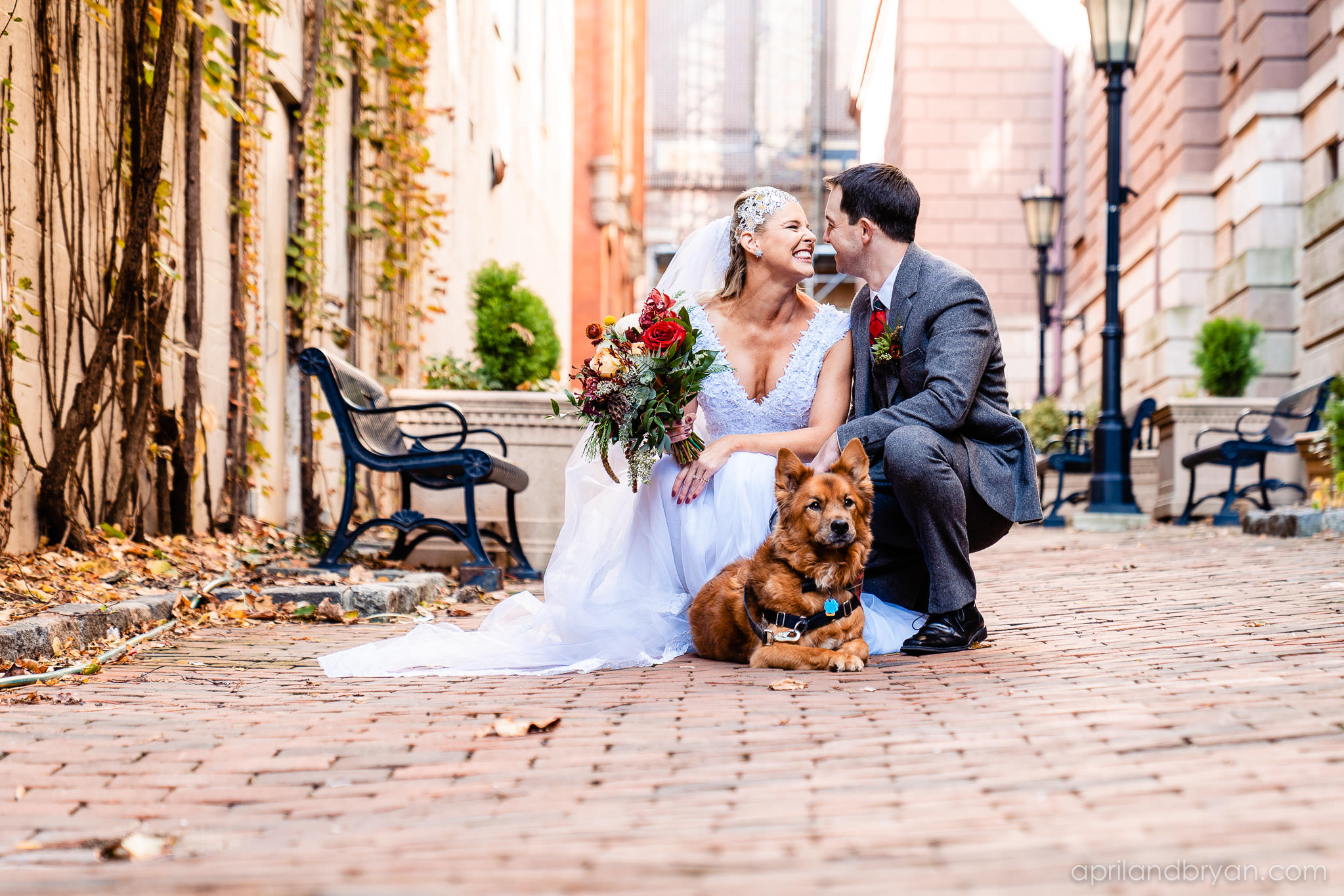 The couple incorporated man's best friend in their wedding. Nicholas and Rebecca Fasnacht tie the not at Tellus360 on November 1, 2019. Captured by April & Bryan Photography and featured on Dream Weddings.