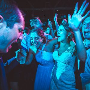 A group of party-goers at a wedding hosted by Central City Orchestra in Lancaster, PA