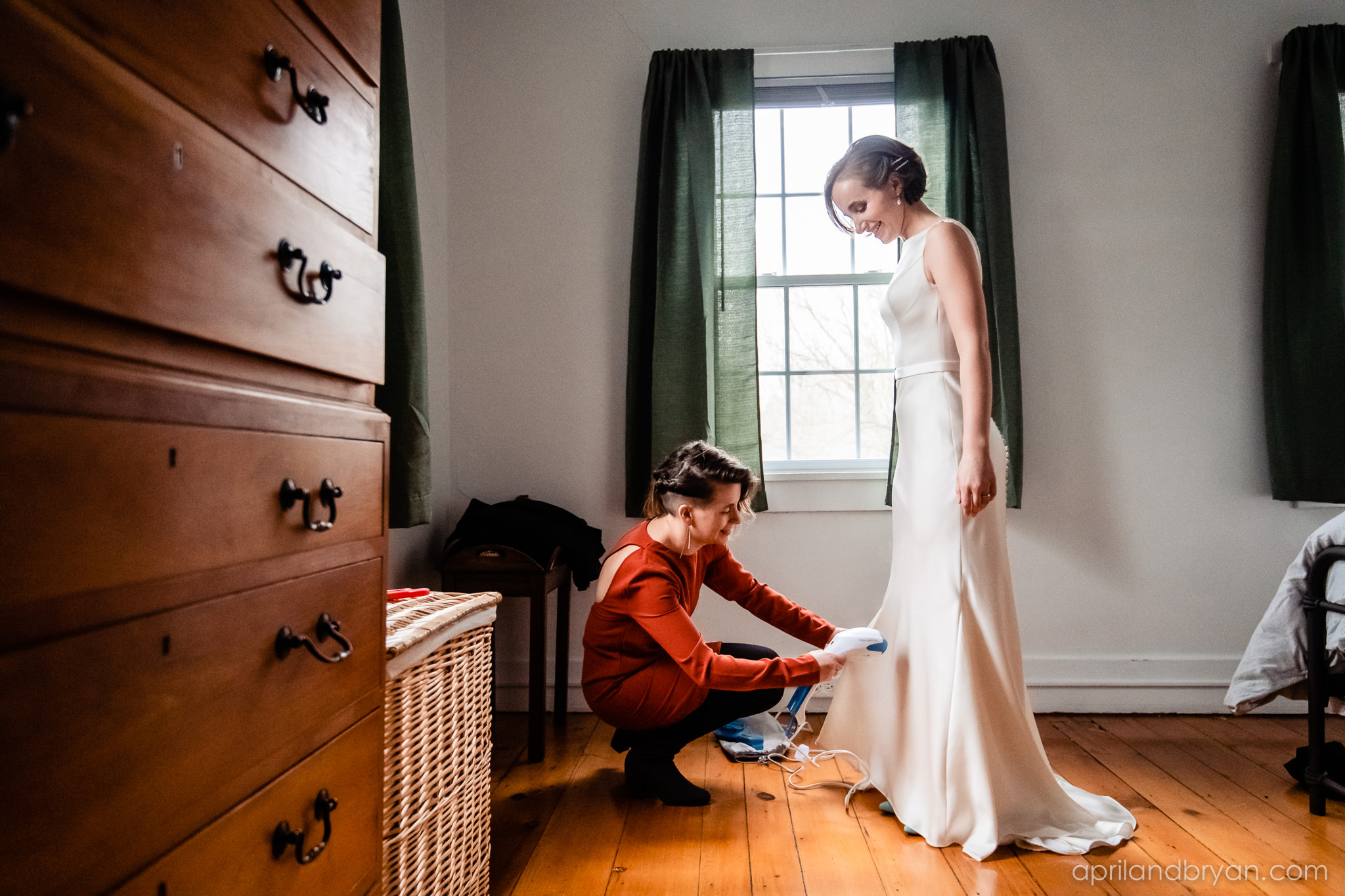 Steaming a satin dress is imperative if you want a clean, unwrinkled gown walking down the isle. Hannah and Ethan Farrell had their classic romantic styled wedding held at their home in Mount Joy, followed by a reception at the catacombs underneath Bube's Brewery. Photographed by April & Bryan Photography, the couple had the opportunity to showcase their early 1900s style and accommodate a small guest list. Featured on Dream Weddings.