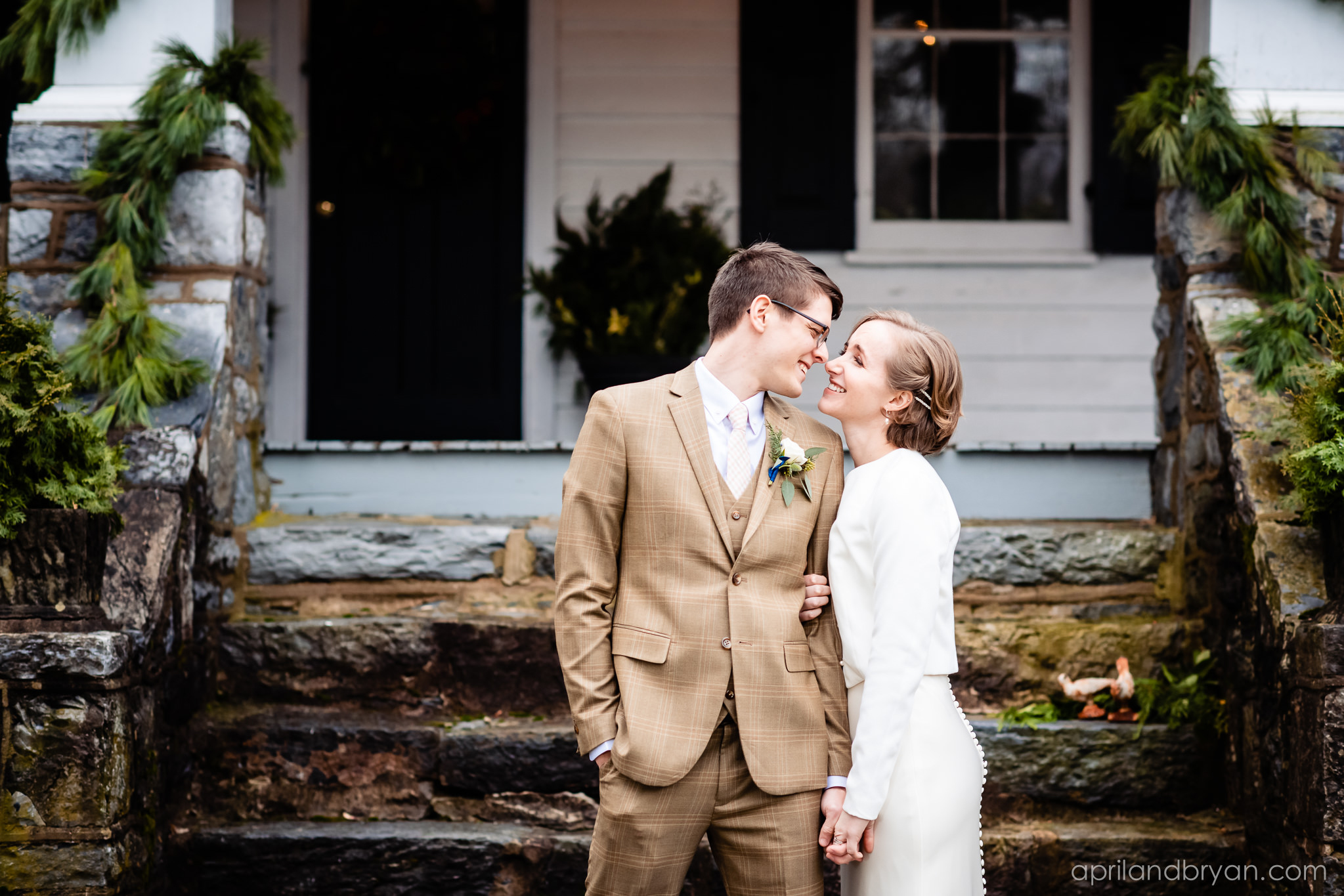 A light jacket that matches the fabric of your wedding dress is perfect for a Fall wedding. Hannah and Ethan Farrell had their classic romantic styled wedding held at their home in Mount Joy, followed by a reception at the catacombs underneath Bube's Brewery. Photographed by April & Bryan Photography, the couple had the opportunity to showcase their early 1900s style and accommodate a small guest list. Featured on Dream Weddings.