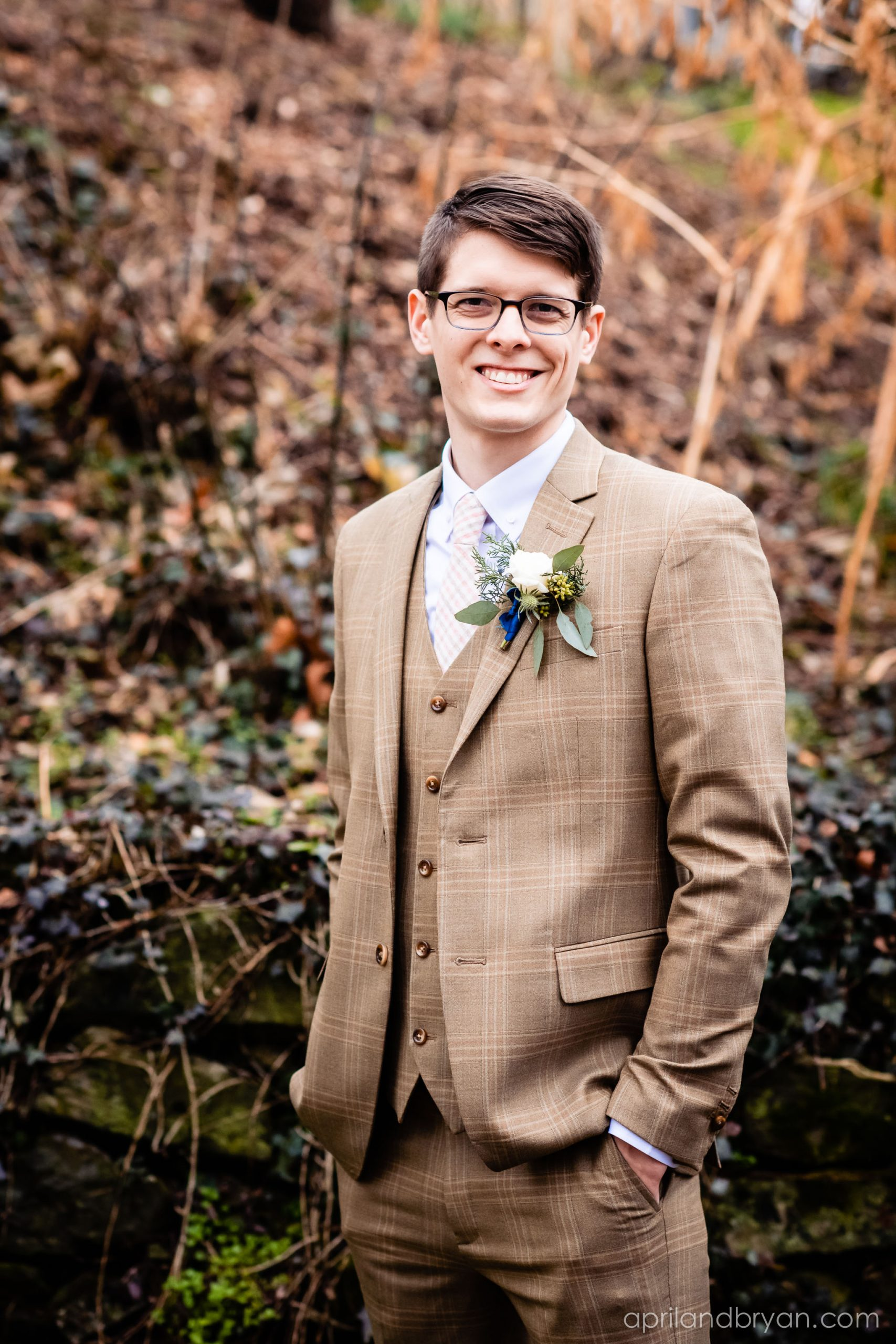 Brown plaid tuxedos used to be out, but this dashing groom proves it is totally doable. Hannah and Ethan Farrell had their classic romantic styled wedding held at their home in Mount Joy, followed by a reception at the catacombs underneath Bube's Brewery. Photographed by April & Bryan Photography, the couple had the opportunity to showcase their early 1900s style and accommodate a small guest list. Featured on Dream Weddings.