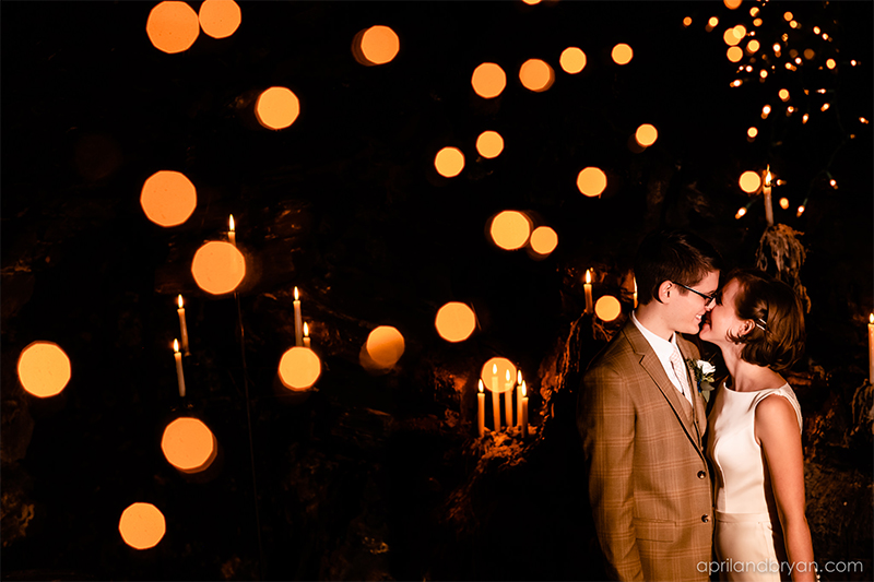 String lights capture this dreamy couple on their special day in 2019. Hannah and Ethan Farrell had their classic romantic styled wedding held at their home in Mount Joy, followed by a reception at the catacombs underneath Bube's Brewery. Photographed by April & Bryan Photography, the couple had the opportunity to showcase their early 1900s style and accommodate a small guest list. Featured on Dream Weddings.